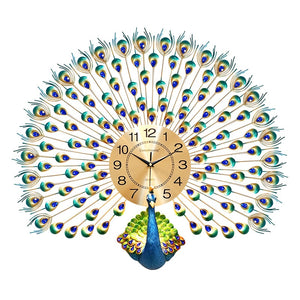 3D Fanning Peacock Wall Clock