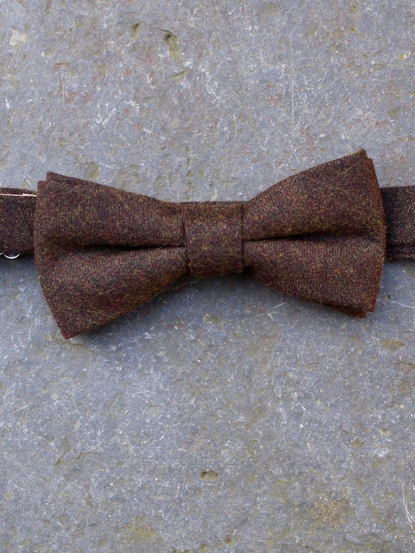 Tweed Wool Bow Tie (Brown)