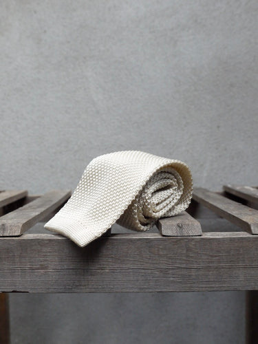 Silk Knit Tie (Cream)