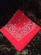 Load image into Gallery viewer, Red Paisley Hankerchief with black and white flower