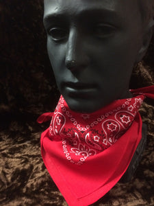 Red Paisley Hankerchief with black and white flower