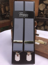 Load image into Gallery viewer, Silver Grey chrome Clip-on Braces by Taggs Est.1863