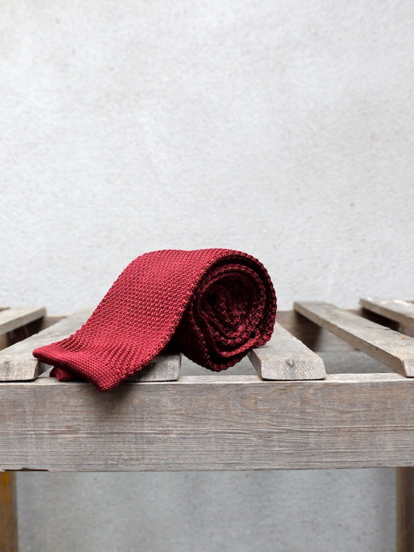 Silk Knit Tie (Red)