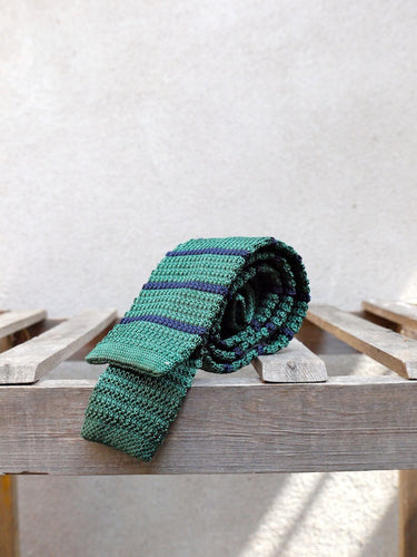 Silk Knit Tie (Green Stripe)