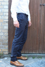 Load image into Gallery viewer, Tailored Drill Trousers (Navy)