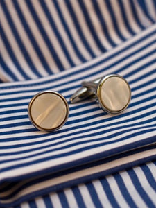 Pearl Cufflinks with gilt or chrome surround