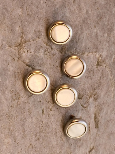 Pearl Shirt Studs with gold surround
