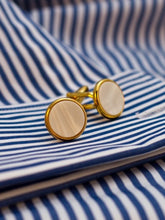 Load image into Gallery viewer, Pearl Cufflinks with gilt or chrome surround