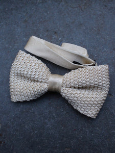 Silk Knit Bow Tie (Cream)