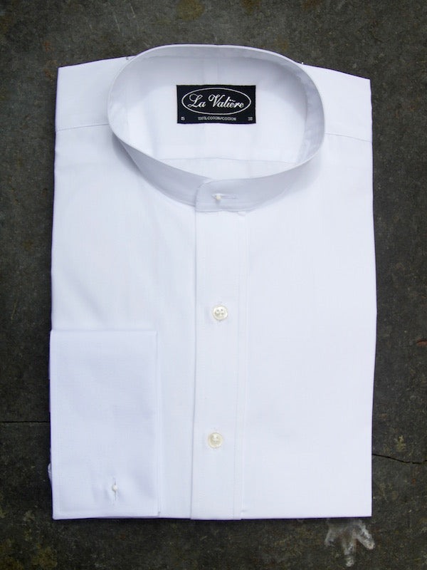 Collarless Shirt (White) double cuffs