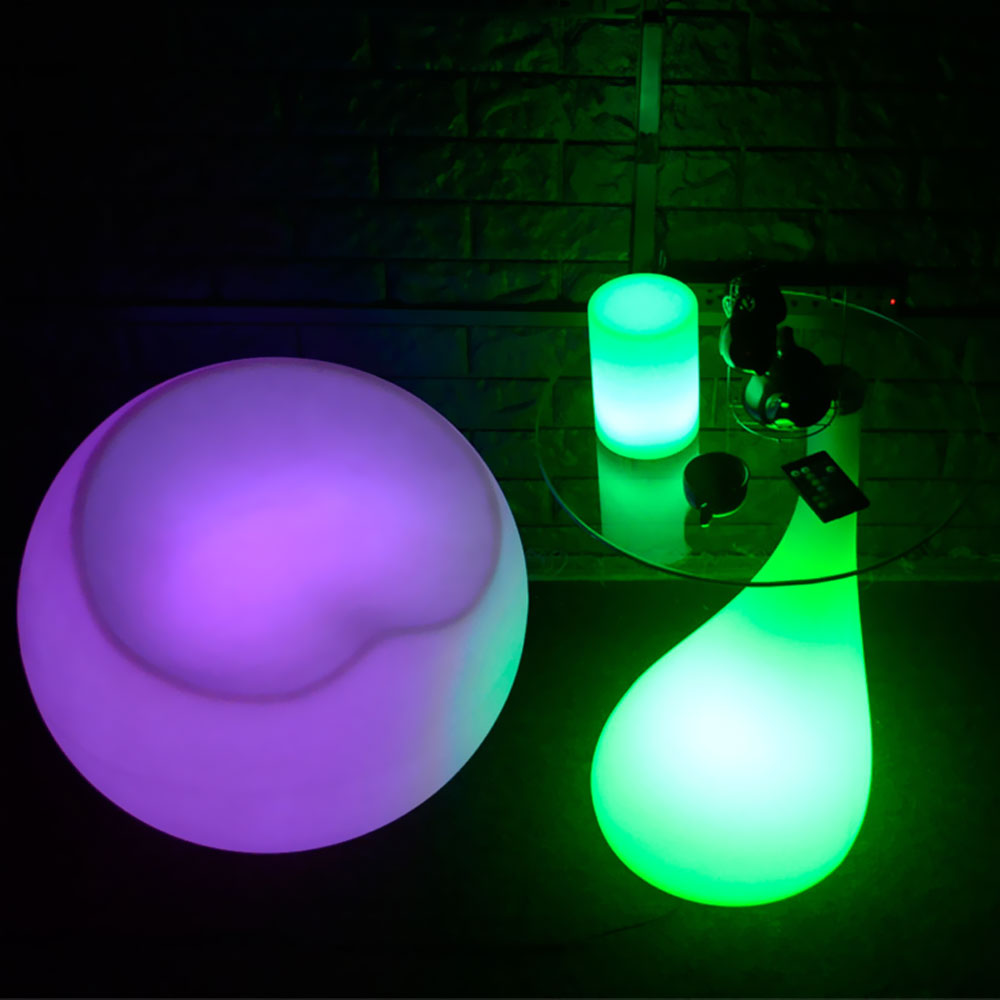 LED Light Up Side Table with Glass Top