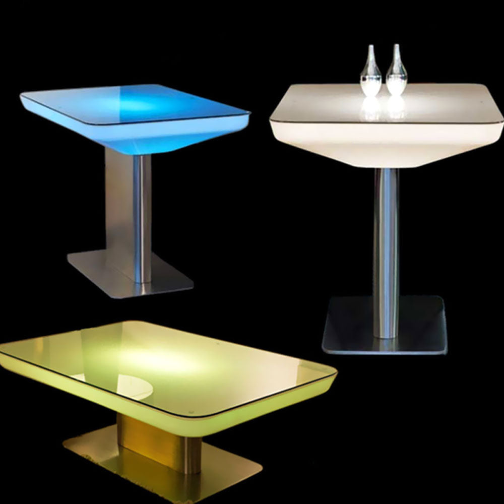 LED Rectangle Floor Table with Stainless Steel Stand