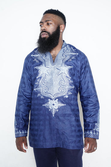 Blue Long Sleeved Shirt with Blue Embroidery