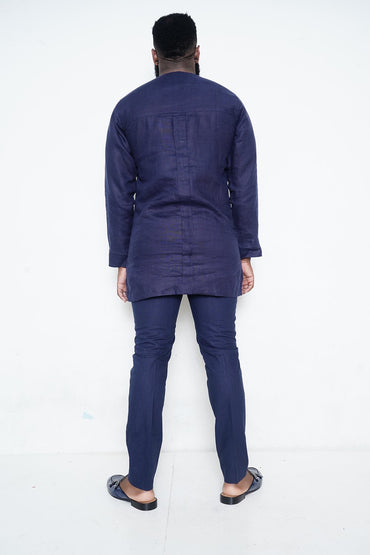 Navy Shirt with Blue Stripe
