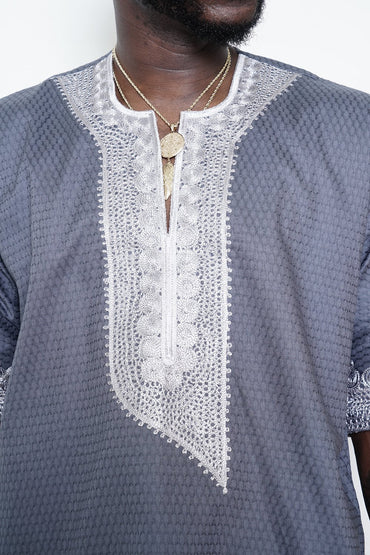 Grey Shirt with Silver Embroidery