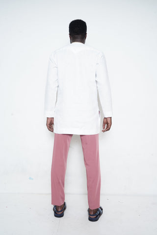 White Shirt with Pink Stripe