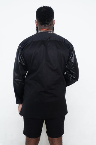 Black Cotton Jacket with Leather Sleeves