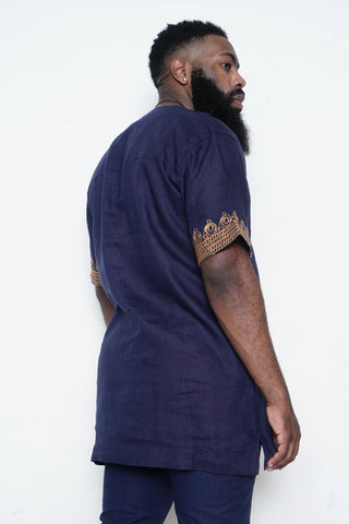 Navy Shirt with Gold Embroidery