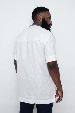 White Shirt with Blue Lines