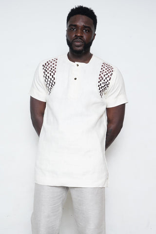 White Shirt with Black Checkers