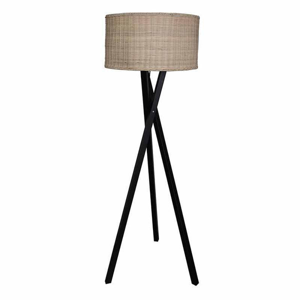 Aki Black Floor Lamp with Rattan Shade-Lighting-Madras Link-The Bay Room