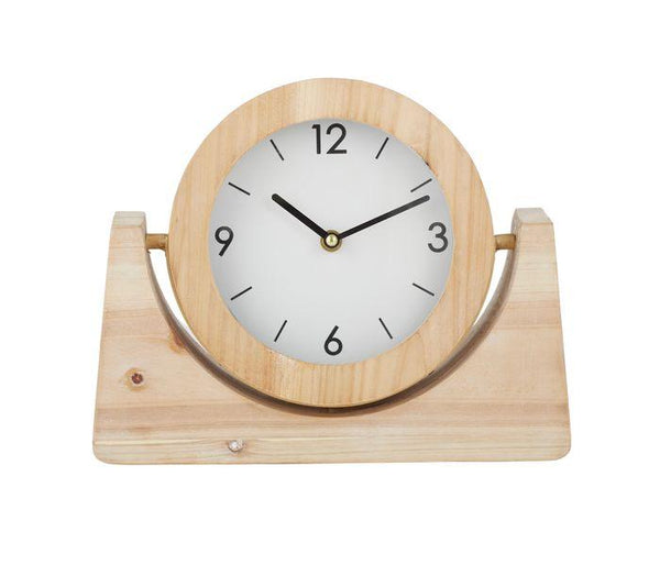Alma Fir Wood Desk Clock - Natural/White-Decor Items-Coast To Coast Home-The Bay Room