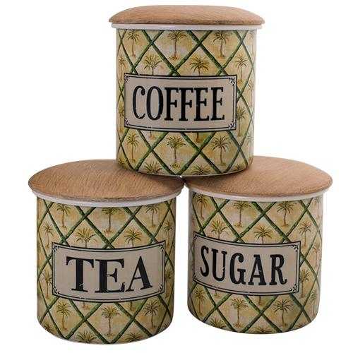 Coffee, Tea, Sugar Canister Set - Palm-Decor Items-DWBH-The Bay Room