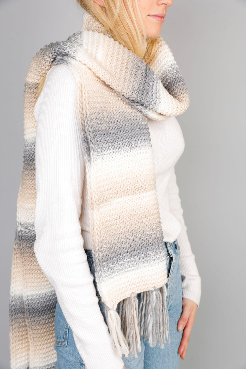 Pia Scarf - Grey/Beige-Scarves & Wraps-Brave & True-The Bay Room