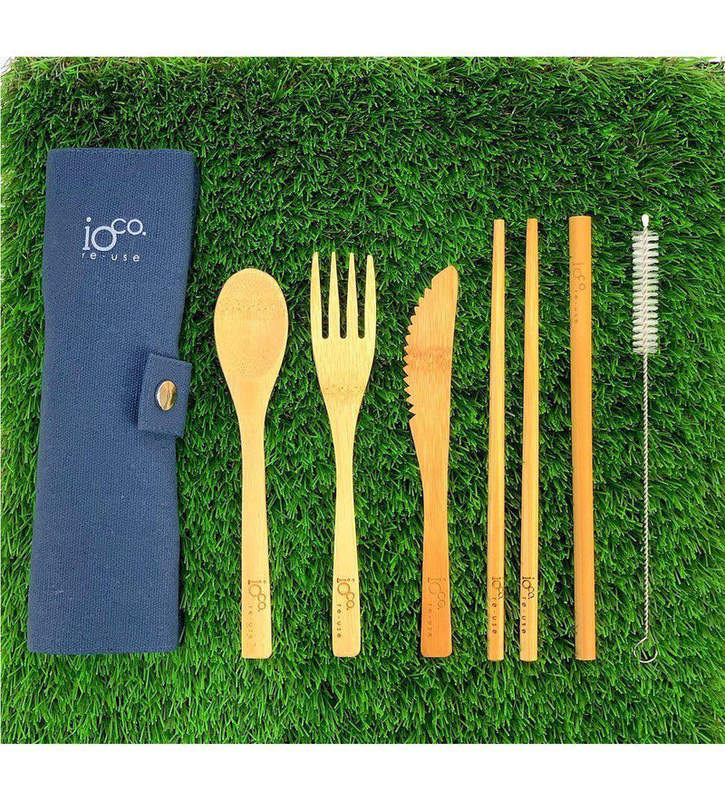 Re-use Bamboo Cutlery Wrap Set-Eco-Friendly-Ioco-Navy-The Bay Room