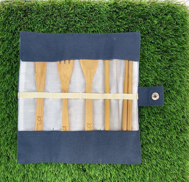 Re-use Bamboo Cutlery Wrap Set-Eco-Friendly-Ioco-The Bay Room