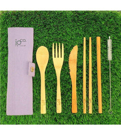 Re-use Bamboo Cutlery Wrap Set-Eco-Friendly-Ioco-Grey-The Bay Room