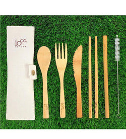 Re-use Bamboo Cutlery Wrap Set-Eco-Friendly-Ioco-Natural-The Bay Room
