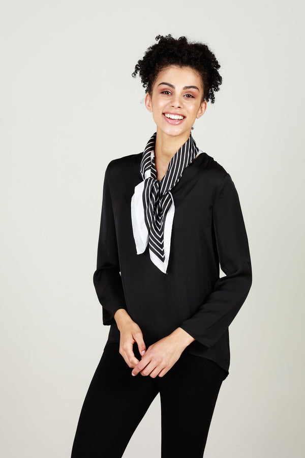 Silky Square Scarf-Scarves & Wraps-Brave & True-Stripe Black/White-One Size-The Bay Room