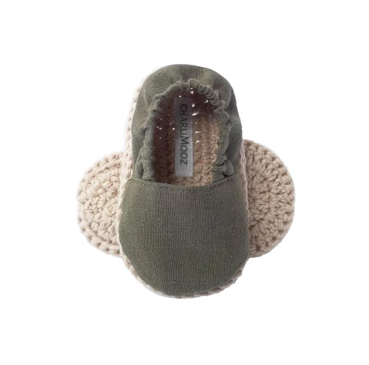 Soft Sole Baby Shoe - Olive-Shoes & Socks-CharliMooz-The Bay Room