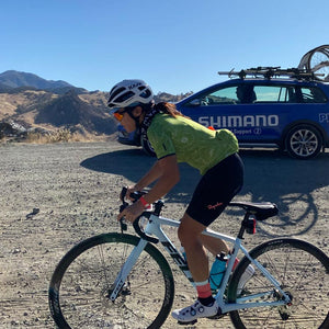 cyclist rides gravel with Shimano neutral support.