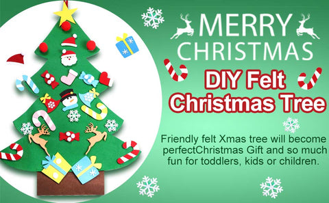 DIY Felt Christmas Tree Toddlers Kids Children Santa Snowmen Candy Ornaments