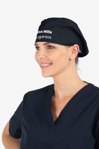Hello my name is... Printed Elastic Back Scrub Cap