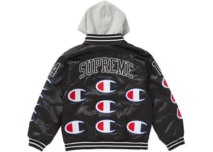 "Supreme x Champion ""Hooded Satin Varsity Jacket"" (Black) -Used"