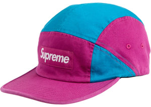 "Supreme ""Contrast Panel Camp Cap"" (Magenta)"