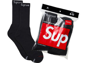 "Supreme x Hanes ""Crew Socks (4 Pack)"" (Black)"