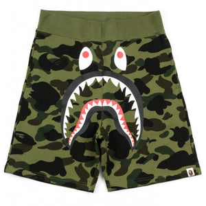 "BAPE ""Color Camo Shark"" Sweat Shorts (Green Camo)"