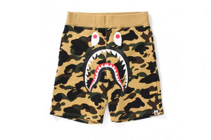 "BAPE ""Color Camo Shark"" Sweat Shorts (Yellow Camo)"