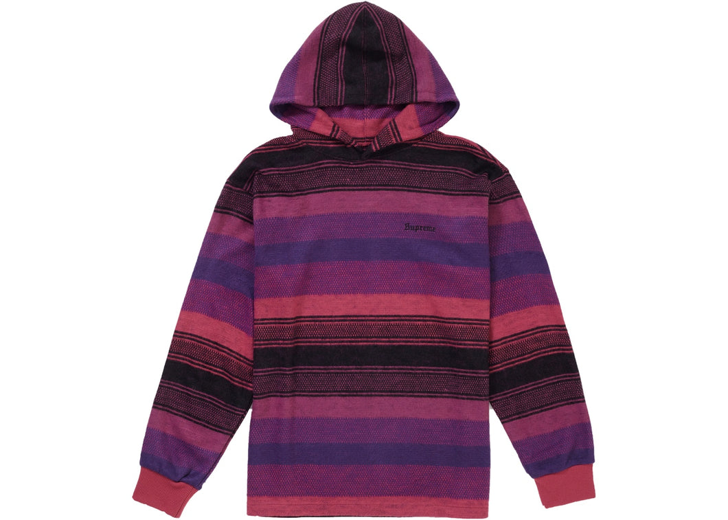 Supreme Knit Stripe Hooded L/S Top (Pink)