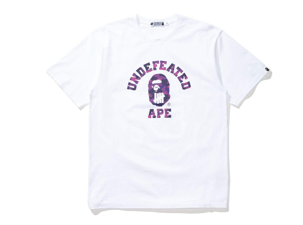 Bape x Undefeated Purple Camo College Tee