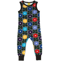Duns Sweden Charcoal Flowers Dungarees 92 & 98