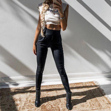 Load image into Gallery viewer, Black Stretch Faux Leather Sexy Leggins, leggings - MySiliconDreams