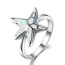 Load image into Gallery viewer, Blue Fire Opal Starfish Ring, Jewelry - MySiliconDreams