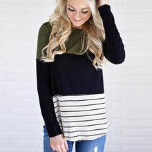 Load image into Gallery viewer, Casual Stripe Color Block Long Sleeve Sweater, sweater - MySiliconDreams