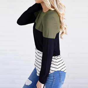 Casual Stripe Color Block Long Sleeve Sweater, sweater - MySiliconDreams