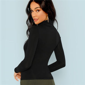 Chic Black Turtleneck Pullover, Pullover - MySiliconDreams
